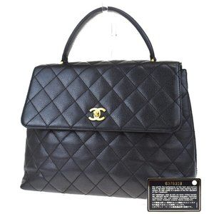 CHANEL CC Logo Quilted Hand Bag Caviar Leather Bla